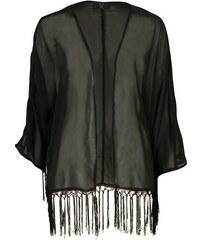 Triko AX Paris Fringed Kimono Black