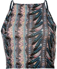 Triko Rock and Rags Feather Print Crop Top Blue Multi