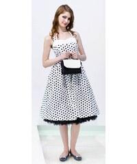 LindyBop retro šaty Deidre, bílé s puntíky