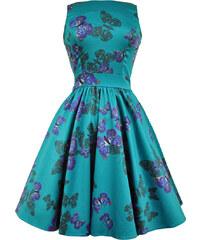 Retro šaty Lady V London Teal Butterfly Tea