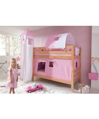 Kinder RELITA Einzel-/Etagenbett Set 4-tlg. rosa/weiß, Herz