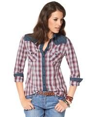 Damen Hemdbluse kariert mit Kontrast-Details in Jeans-Stoff Aniston weiß 34,36,38,40,42,44