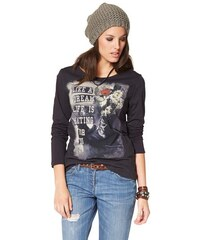 Aniston Damen Langarmshirt mit Statement-Print grau 34,36,38,40,42,44