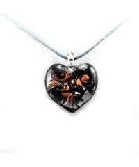Murano Náhrdelník skleněné srdce - kombinace barev - černá, stříbrná, bronz - Passione