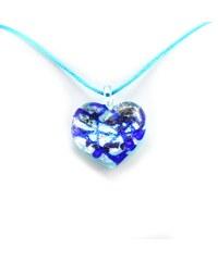 Murano Náhrdelník skleněné srdce - kombinace barev - stříbrné, modré - Passione