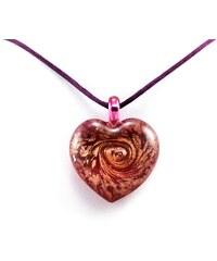 Murano Náhrdelník skleněné srdce - kombinace barev - fialová - Passione