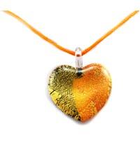 Murano Náhrdelník skleněné srdce - kombinace barev - zlatá, oranžová, černá - Passione