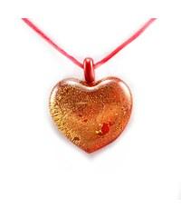 Murano Náhrdelník skleněné srdce - červená - Passione