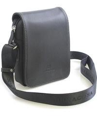 Luxusní pánská kožená kabelka přes rameno černá - Hexagona Filippo černá