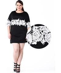 Lesara Shirt-Kleid mit Spitzen-Bordüre - 3XL