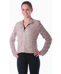 TopMode Koženková bunda s krajkovou kombinací béžová