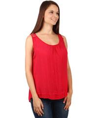 TopMode Elegantní tílko a krajkovými ramínky na zádech červená