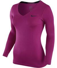 Nike PRO LS V-NECK fialová L
