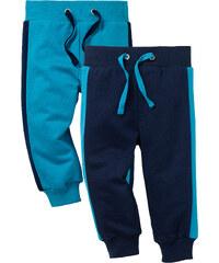 bpc bonprix collection Lot de 2 pantalons sweat bébé en coton bio, T. 56/62-104/110 bleu enfant - bonprix