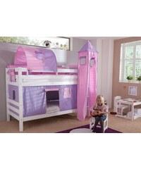 Kinder Einzel-/Etagenbett Set 4-tlg. RELITA purple/rosa, Herz