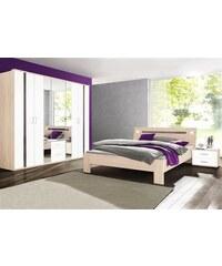 Schlafzimmer-Sparset mit Kleiderschrank (4-tlg.) wimex struktureichefarben hell/Hochglanz grau