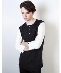 Triko Marshal Apparel Henley Mid Sleeve Tee white/black