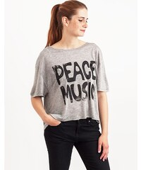 Top Somedays Lovin Peace Music Frill Back Grey Marle