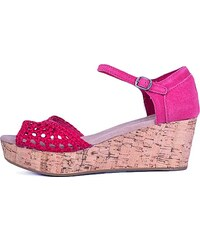 Sandály Toms Platform Wedges raspberry satin woven