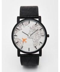 ASOS - Uhr mit Sekundenzeiger im Flugzeugdesign - Schwarz