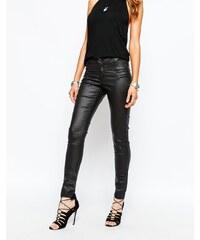 Noisy May - Fame - Beschichtete Skinny-Jeans mit Reißverschlusstaschen - Schwarz
