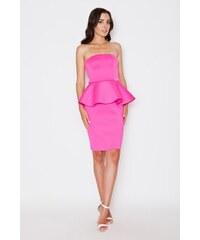 Dámské peplum šaty Katrus K283 růžové
