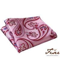 Fišer Hedvábný kapesníček růžový s velkým vzorem