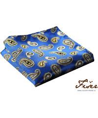 Fišer Hedvábný kapesníček modrý se žlutým vzorek FI319