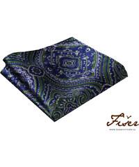 Fišer Hedvábný kapesníček modro zelený se vzorem