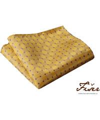 Fišer Hedvábný kapesníček žlutý s fialovou tečkou