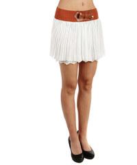 TopMode Neobvyklá sukýnka s pružným pasem a krajkovou spodničkou bílá