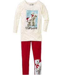 bpc bonprix collection T-shirt long et legging (Ens. 2 pces.), T. 80/86-164/170 blanc manches longues enfant - bonprix