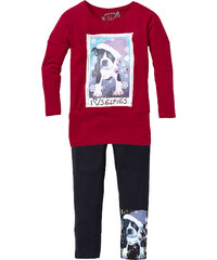 bpc bonprix collection T-shirt long et legging (Ens. 2 pces.), T. 80/86-164/170 rouge manches longues enfant - bonprix