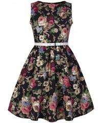 LINDY BOP Šaty Mini Audrey černé květiny