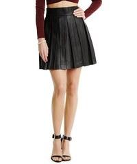 Guess by Marciano Kožená sukně Aurey Pleated Leather Skirt