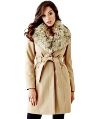 Guess Kabát Faux-Fur Collared Long Coat
