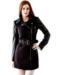 Guess Kabát Quilted Faux Leather-Sleeve Trench Coat