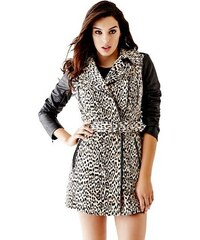 Kabát Guess Quilted Faux Leather-Sleeve Trench Coat spanish cheetah desert c63b3bba71