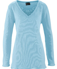 bpc selection Long-Pullover mit Spitze langarm in blau für Damen von bonprix
