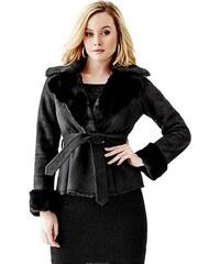 Kabátek Guess Faux-Fur Collar Leatherette Coat jet black d191665c91