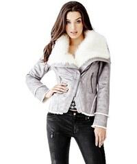 Bunda Guess Faux-Leather Coat with Asymmetrical Hem grey multi ade2b4dffb