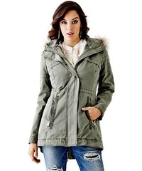 Guess Bunda Quilted Anorak with Fur Trim