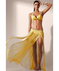 LM moda Plážová sexy dlouhá sukně žlutá Mesh Maxi