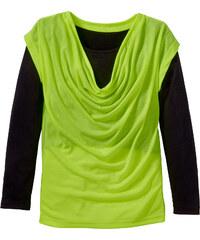 bpc bonprix collection T-shirt manches longues double épaisseur avec encolure bénitier, T. 116/122-164/170 jaune enfant - bonprix