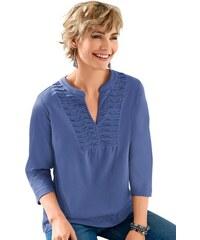 CLASSIC BASICS Damen Classic Basics Shirttunika mit wunderschöner Biesenverzierung blau 38,40,42,44,46,48,50,52,54,56