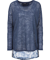 BODYFLIRT T-shirt 2 en 1 bleu manches longues femme - bonprix
