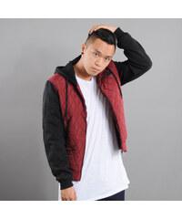 Urban Classics Hooded Diamond Quilt Nylon Jacket vínová / černá
