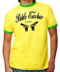 Coole-Fun-T-Shirts PABLO ESCOBAR el padre ringer t-shirt gelb/grün S M L XL XXL Kokain