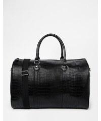 ASOS - Elegante, schwarze Tragetasche aus Kunstleder mit Krokodil-Effekt - Schwarz