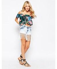 Parisian - Short en jean à franges avec bandes à fleurs - Bleu